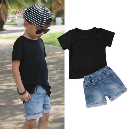 Emmababy Toddler Kids Baby Boy Black Short Sleeve Tops T