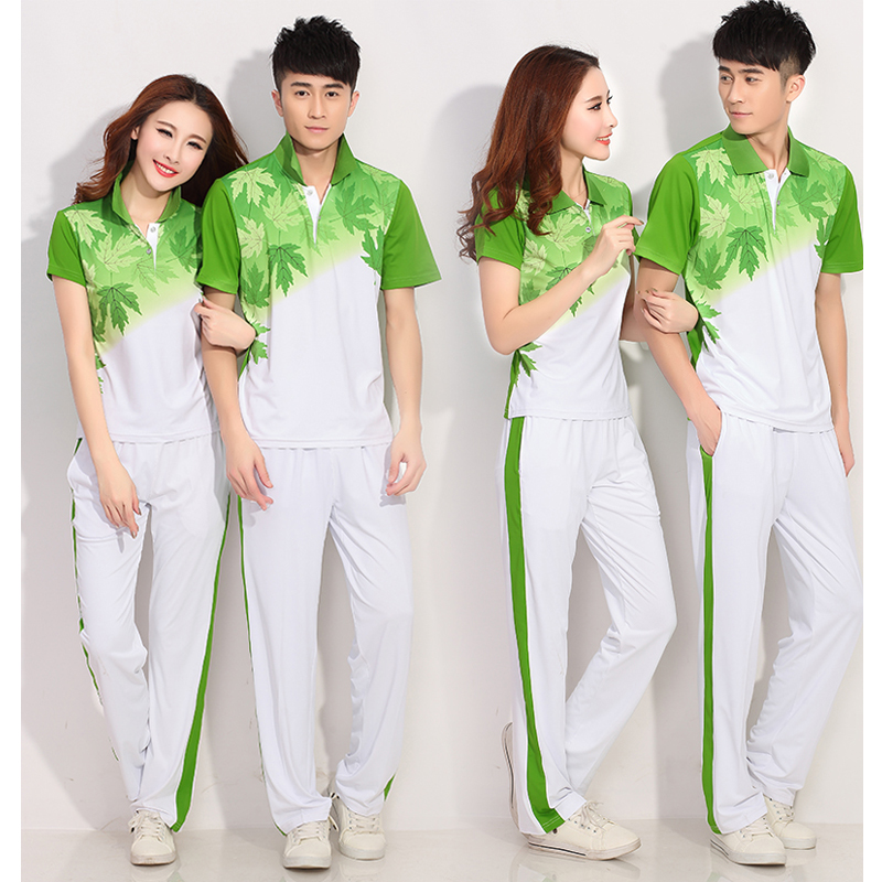 ФОТО Gym running suit couple t-shirt summer short-sleeved trousers suit professional square dance clothing