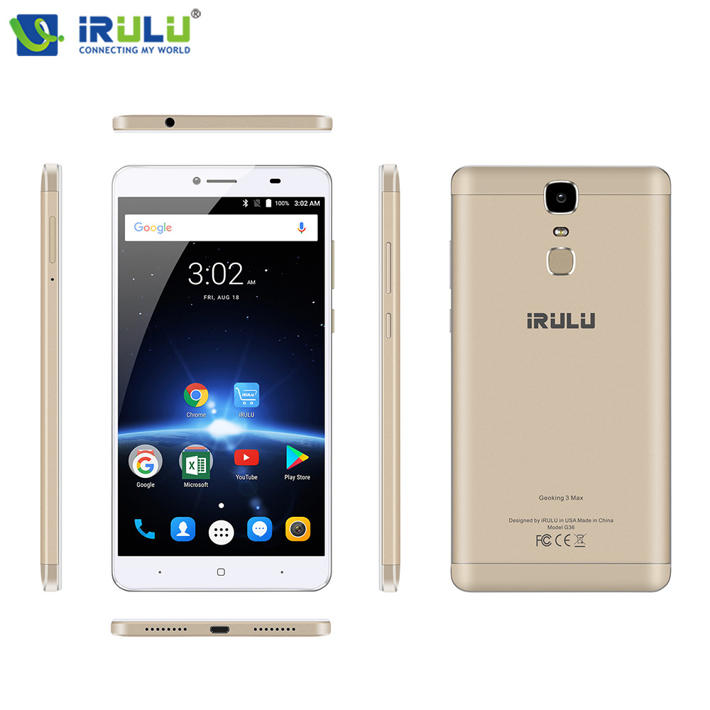 "New iRULU GeoKing 3 Max 6.5"" Cellphones MTK6750T Octa Core 3+32GB Andriod 7.0 Dual Cams Fingerprint US Version 4G Mobile Phone"