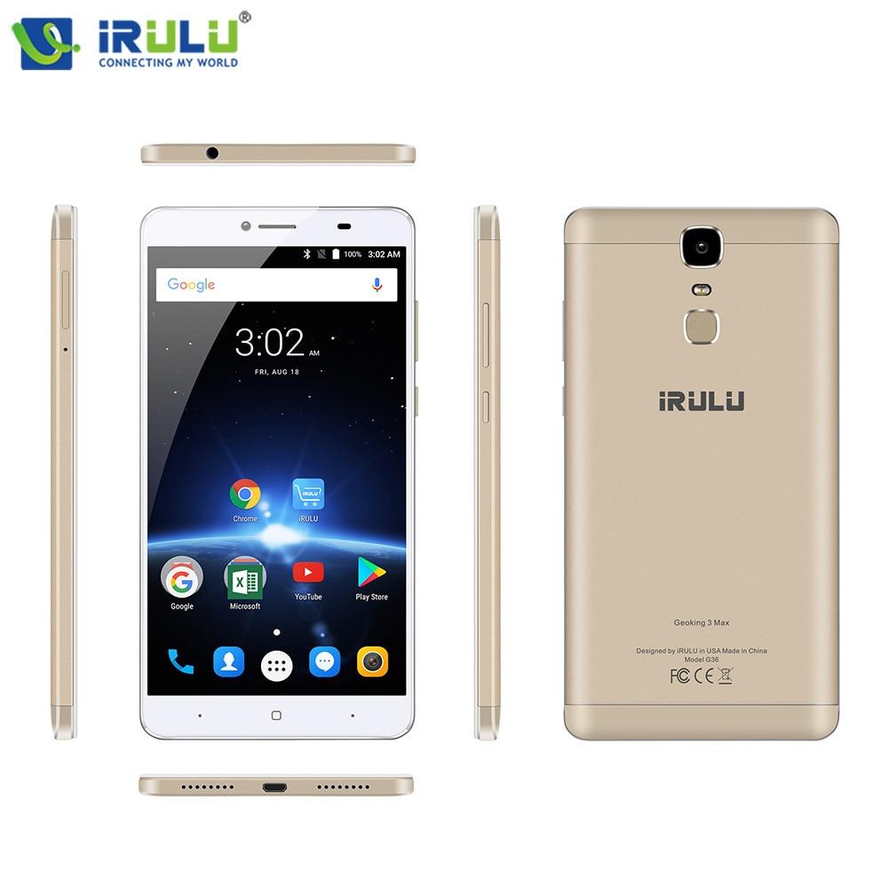 "New iRULU GeoKing 3 Max 6.5"" Cellphones MTK6750T Octa Core 3+32GB Andriod 7.0 Dual Cams Fingerprint US Version 4G Mobile Phone"