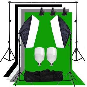 Image 2 - Zuochen Fotostudio Led Licht Softbox Verlichting Kit 4 Achtergronden Voor Fotografie Schieten Facebook Live