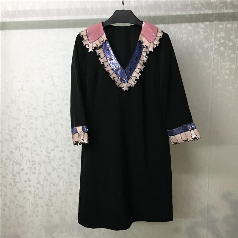 Vintage Kleid für Frauen Kurzarm V ausschnitt Süße Schwarz Sommer Kleid für Dame 2018 neue Frauen Kleid-in Kleider aus Damenbekleidung bei  Gruppe 1
