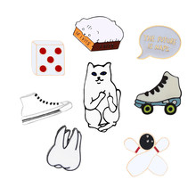Lovely Cartoon Brooch Funny Cat Dice Bowling Shoes Metal Badges Pins Women Men Denim Jackets Hat Enamel Lapel Pin Kids Jewelry(China)