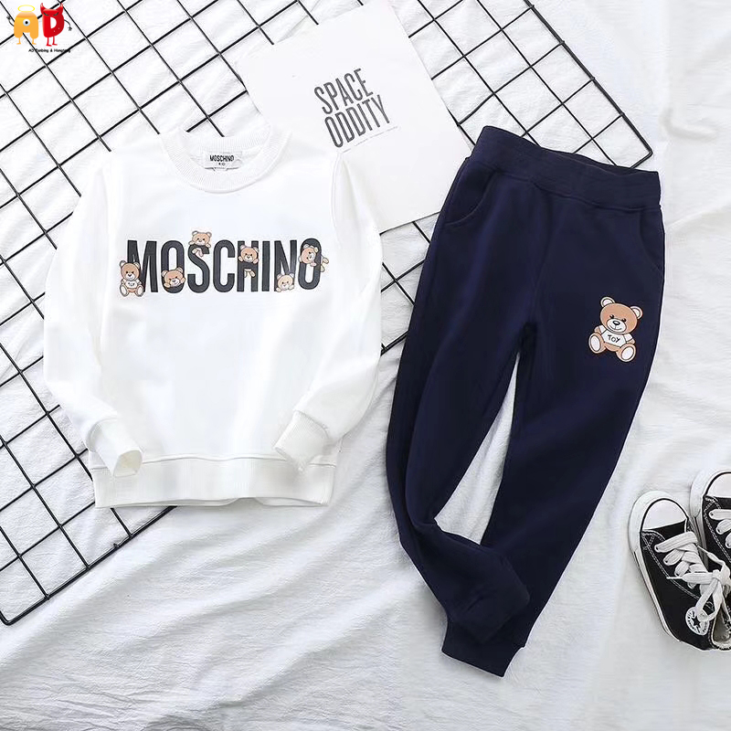 AD New Collection Bear Boys Sweatshirt + Pants Girls Terry T-shirts + Trousers Children's Clothing Sets for Spring Autumn