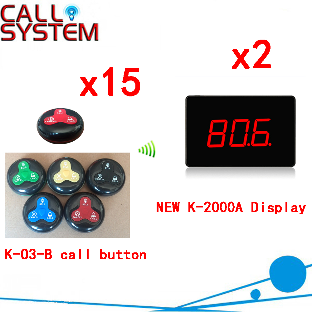 Wireless Service Bell System For A Restaurant Competitive Price Ycall Brand Pager Suit For Hotel(2 display+15 call button)  wireless pager service restaurant cafe restaurant bell call room w999218 wireless pager