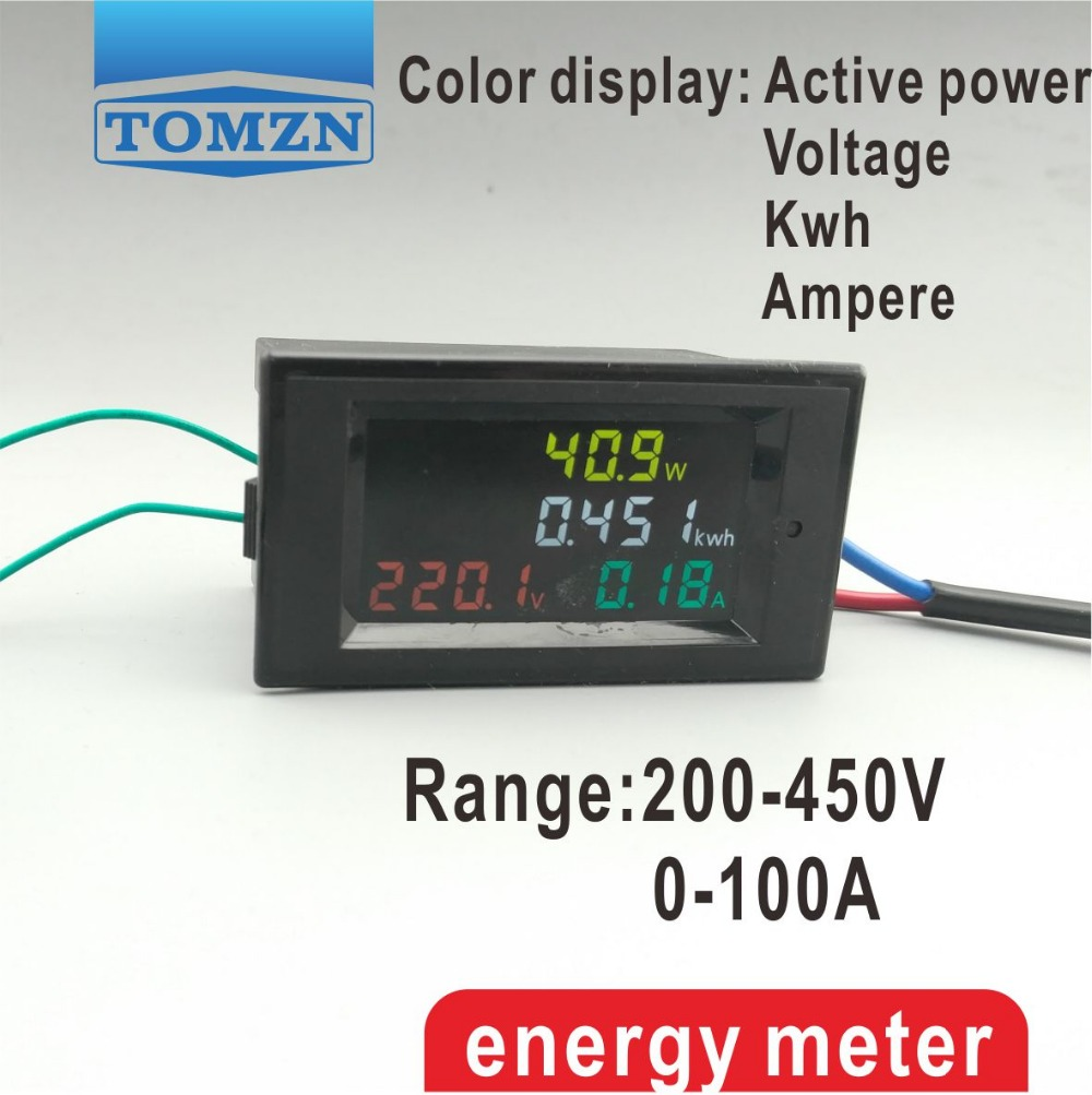 4IN1 HD Color Screen 180 Degrees Flawless LED Display Panel Meter With Voltmeter Ammeter Energy Meter Active Power 200-400V 100A
