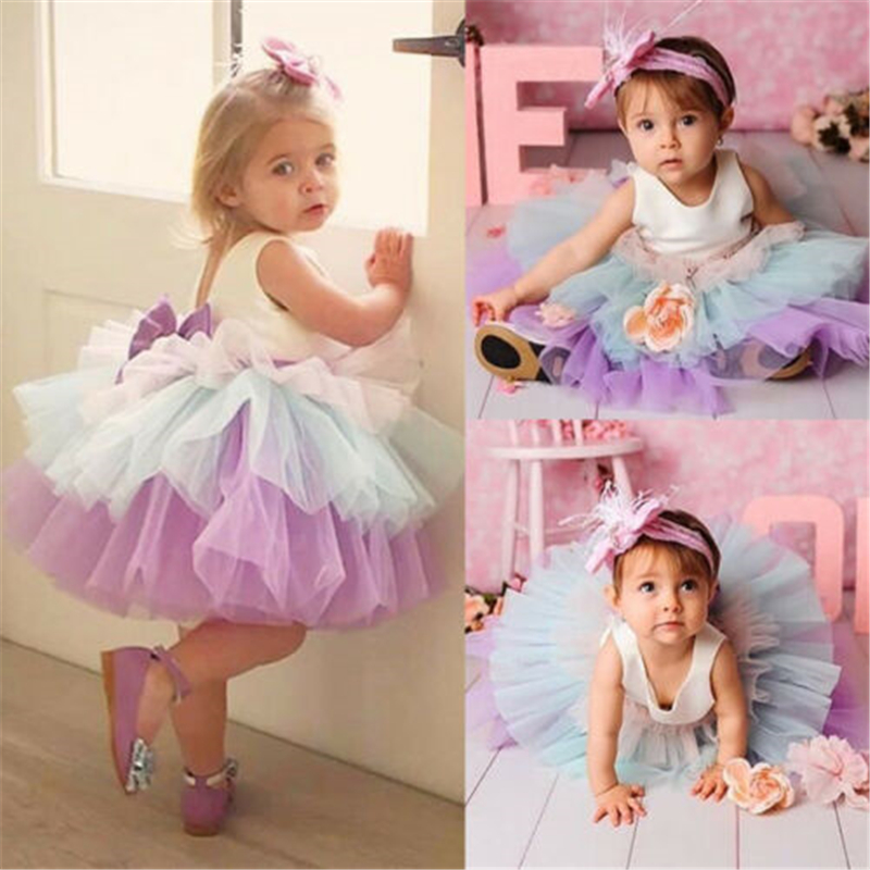 Flower     Girl     Dress   Princess Kids Baby Tutu   Dress   Party Birthday Gown Formal   Dress   Bow Sleeveless Color Bubble   Dress