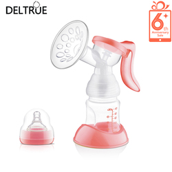 Deltrue pink yellow manual breast pump breast feeding bottle bpa free milk pumps baby nipple suction.jpg 250x250