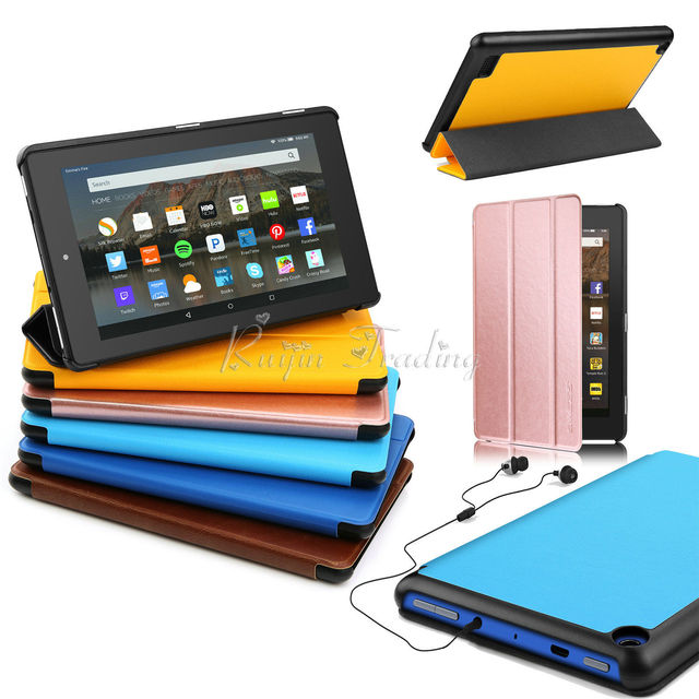 New PU Leather Magnet Stand Smart Flip Case For Amazon Kindle Fire HD 8 2017 Slim Auto Wake Sleep Folding Tablet Cover Shell