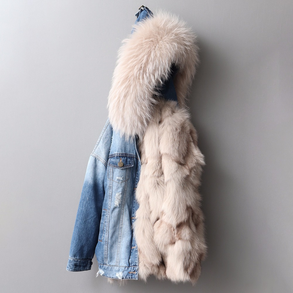 pink Fourrure Femmes Col De Er19 D'hiver Manteau Renard Trou blue Picture Femelle Capuchon Poil Mode Denim À white Courte Laine Cowboys Color Doublure Outwear Parka AEwxYgqwv