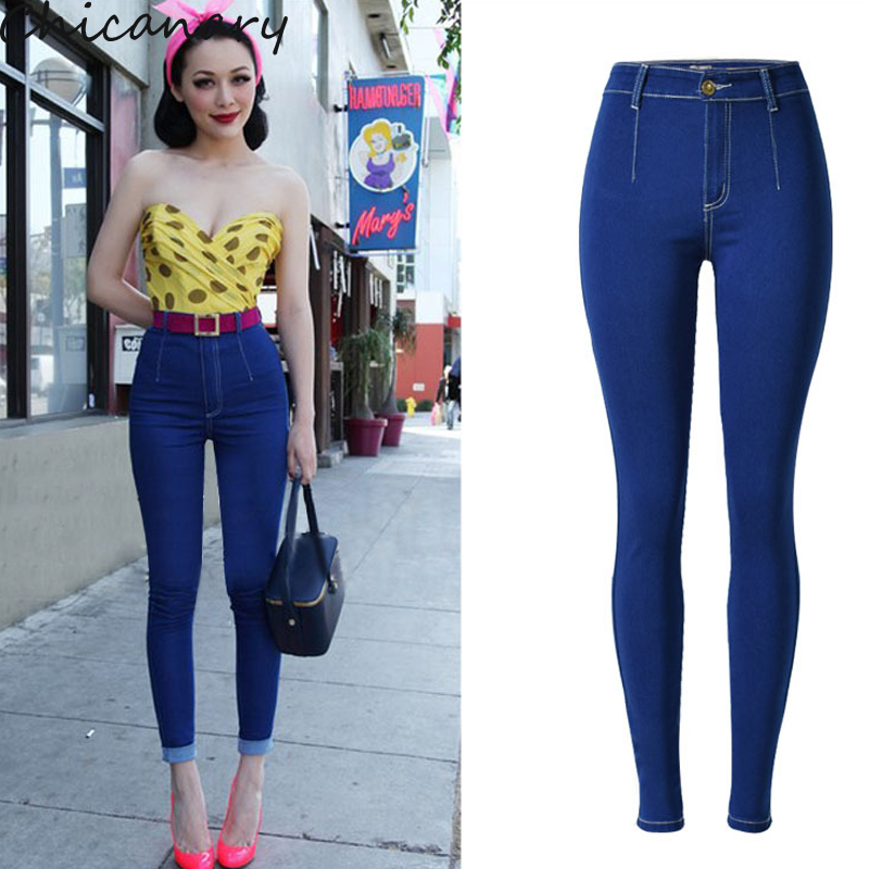 Woman Pencil Pants Denim Jeans Slim Mujer Plus Size Stretch Personality Jeans Female High Waist Skinny