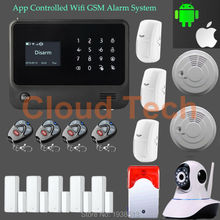 IOS and Android APP control 433MHZ code 1527/2262 WIFI+GSM alarm system LCD home security burglar GSM alarm system