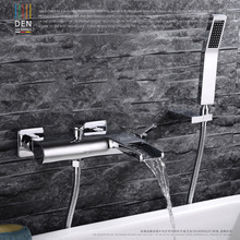 цена на Chrome Wall Mounted Bathroom Faucet Bath Tub Mixer Tap With Hand Shower Head Shower Faucet hot and cold waterfall brass torneira