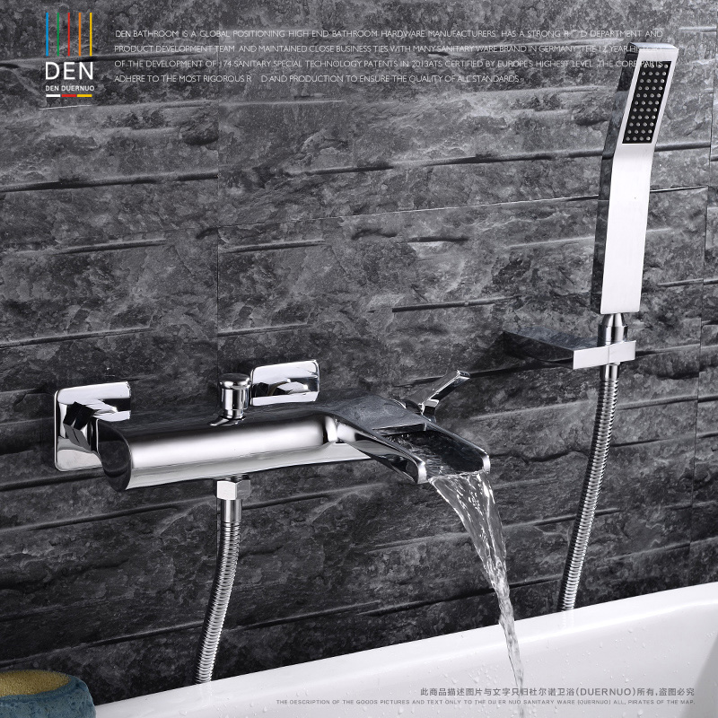 Chrome Wall Mounted Bathroom Faucet Bath Tub Mixer Tap With Hand Shower Head Shower Faucet hot and cold waterfall brass torneira