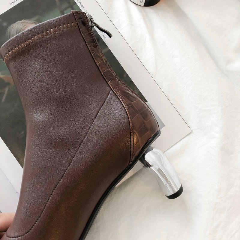 TXCNMB 2019 Stiefel Frauen Stiefeletten für Frauen Winter Echtem Leder Hohe Ferse Schwarz Braun Spitz Schuhe Frau
