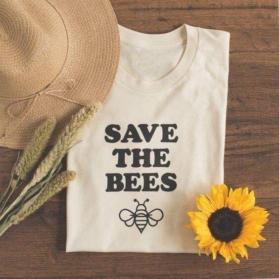 Neue Heiße Speichern Sie Die Bienen Brief Drucken Top Tee lady Nette Graphic Tee Sommer Outfit Lässig Kurzarm T-Shirt Weiß Gelb tees