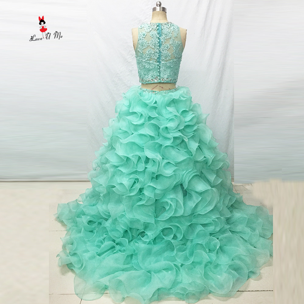 Vestido de 15 anos Debutante Gown Mint Green Vintage Puffy 2 Piece Quinceanera Dresses 2017 Lace Crystal Cheap Quinceanera Gowns image