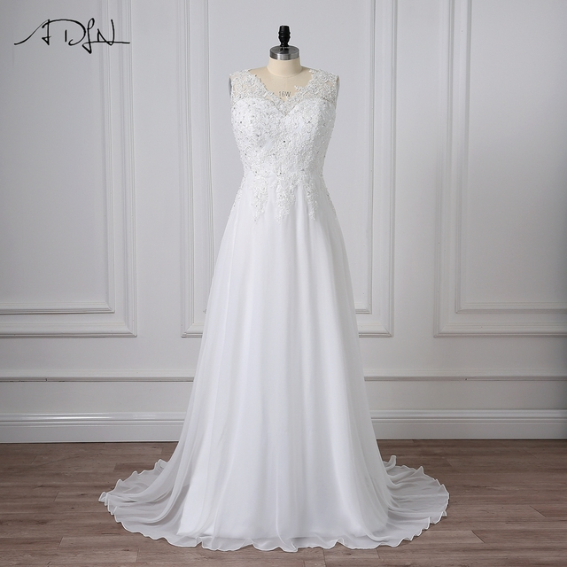 ADLN Plus Size Wedding Dresses Chiffon V-neck Sleeveless Beaded Applique  Bridal Wedding Gowns A-line Beach Summer Dress b1679ff40ec2