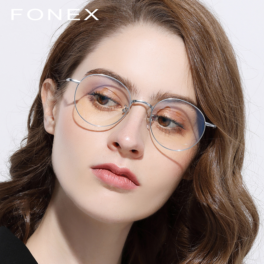 9368e7b12c Pure Titanium Glasses Frame Women Retro Round Prescription Eyeglasses  Vintage Myopia Optical Frames Eyewear Eye Glasses