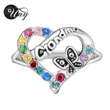 UNY S925 Sterling Silver Special Customized Heart Engrave Family Anniversary Sentimental Gift Birthstone Ring for Grand Mom