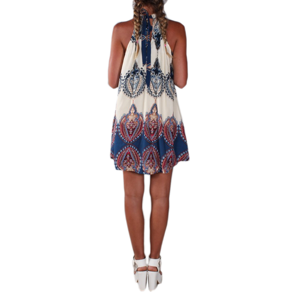 b939da53c70f 2017 Vintage Summer Dress Women Boho Short Dress Printed Halter Neck  Sleeveless Beach Party Mini Dresses Beige Vestidos De Festa Going Out  Dresses Summer ...