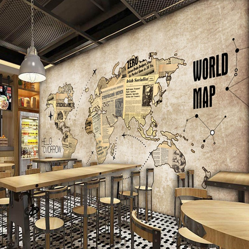 Custom photo wallpaper europe the united states retro world map custom photo wallpaper europe the united states retro world map newspaper mural bar coffee shop back wall restaurant wallpaper in wallpapers from home gumiabroncs Gallery