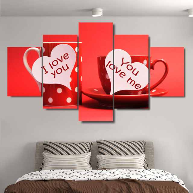 US $5 96 40% OFF|Canvas HD Prints Pictures Kitchen Wall Art Frame 5 Pieces  Good Morning Love You Paintings Cup For Lovers Poster Room Home Decor-in