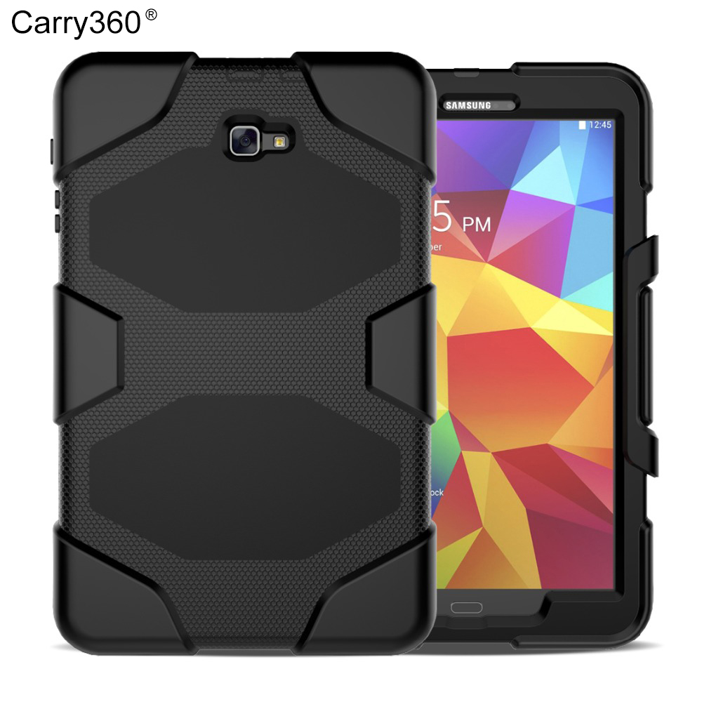Carry360 For Samsung Galaxy Tab A 10.1 T580 Case SM-T585 Heavy Duty Rugged Impact Hybrid Case Kickstand Cover Shockproof