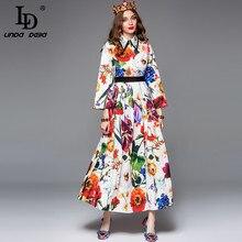 LD LINDA DELLA Fashion Runway Maxi Dress Women's Long SLeeve Gorgeous Multicolor Floral Print Holiday Elegant Long Dress
