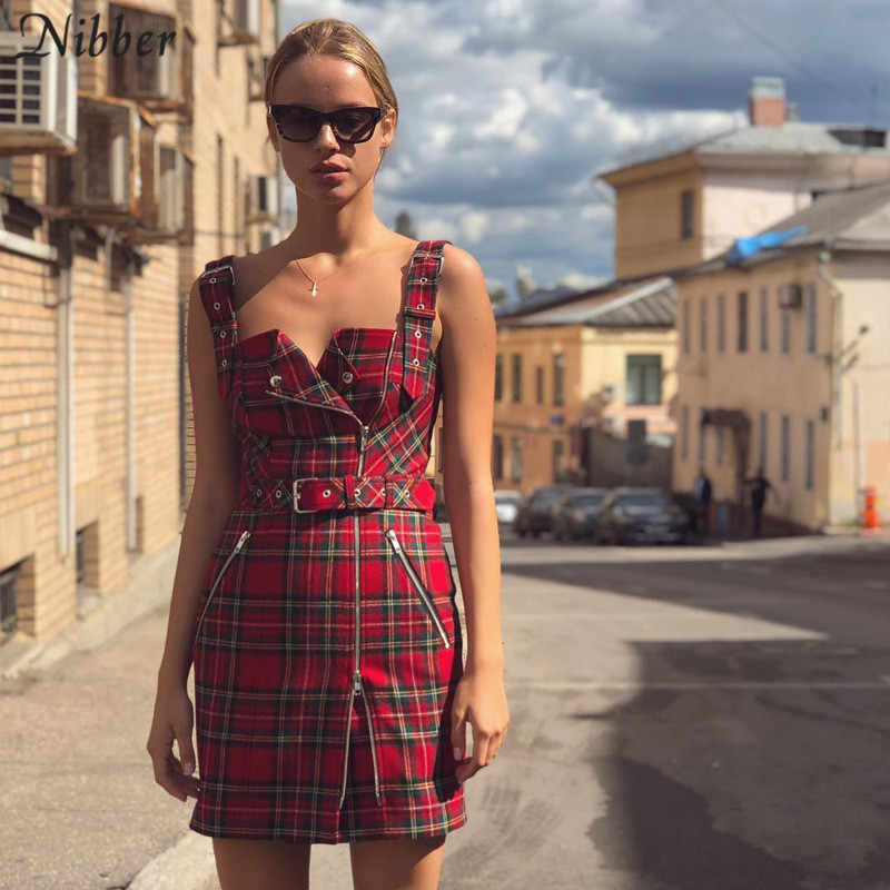 Nibber red Plaid printing wild black Belt decoration women's Casual Dress 2019 spring hot fashion ladies sleeveless Sling dress