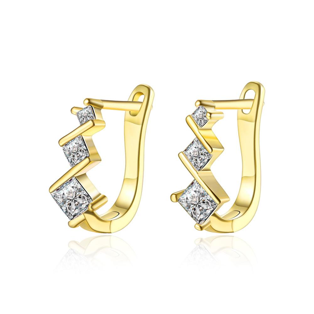 Wholesale Gold Piercing Clip On Earrings Square Costume Jewelry Cz Ear Cuff For Women Girls Wedding