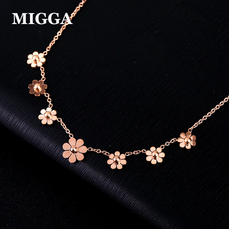 MIGGA 316L Stainless Steel Daisy Flower Clavicle Chain Necklace for Women Gift Rose Gold Color Not Fade