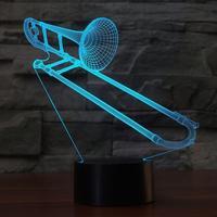 3D Trombone Shape NightLight Color Changing USB Table Lamp Visual LED Sleep Lighting Luminaria Musical Instruments