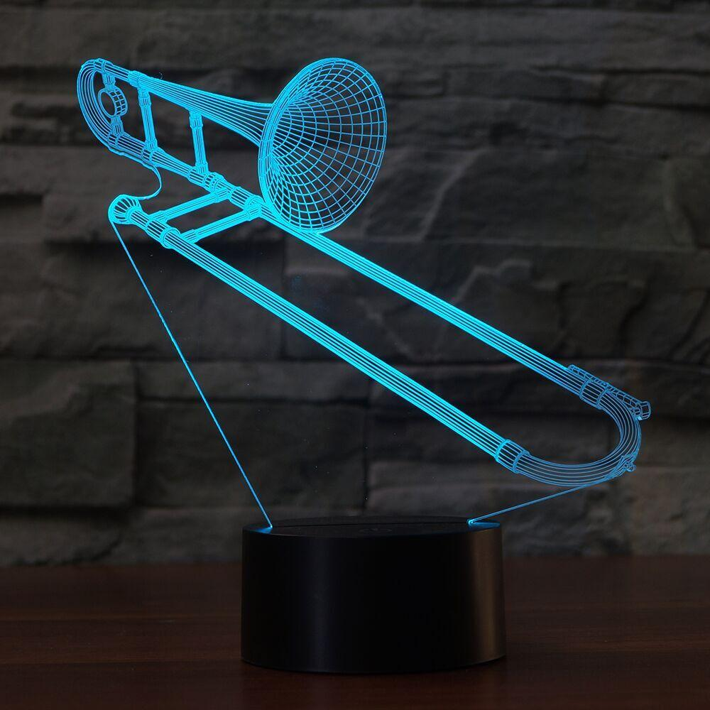 3D Trombone Shape NightLight Color Changing USB Table Lamp Visual LED Sleep Lighting Luminaria Musical Instruments Light Fixture