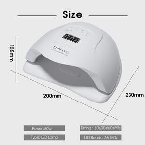 Image 3 - УФ светодиодный светильник SUN X5 Plus с автоматическим датчиком, 80 Вт, Сушилка для ногтей, ЖК дисплей с таймером, инструмент для отверждения 10/30/60/99 с