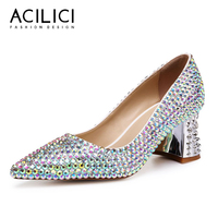Crystal Shoes Wedding Pumps Genuine Leather Luxury Square Heel Fashion Pointed Toe Shoes