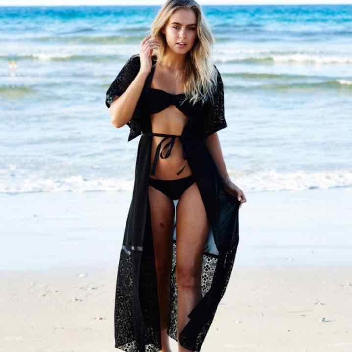 2019 Formal Summer Sexy Beach Dress Women Pareo Beach Tunic Extra Long Lace Tunique De Plage Beach Dresses DR85