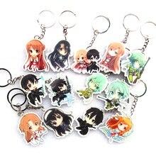 13pcs/set Anime Keychain Sword Art Online Pendants Kirigaya Kazuto Sachi Asuna Doublesdie Print SAO Cartoon Characters Keychain