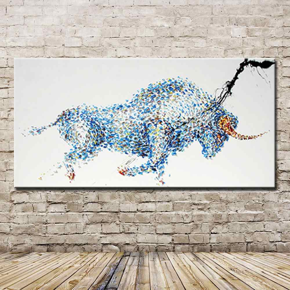 Pop Art Gift 100% Hand-painted Strong Bull Oil Painting On Canvas Handmade Abstract Bull Paintings For Office Decoration