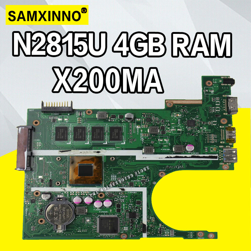 X200MA Motherboard N2815U 4GB RAM For ASUS X200M F200M X200MA Laptop Motherboard X200MA Mainboard X200MA Motherboard