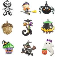10pcs Bag Halloween Serise 1 Rhinestone Enamel Witch Jar Spider Nut Owl Cupcake Ghost Skull Pendant