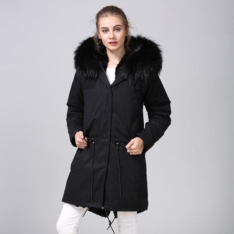 MAOMAOKONG 2018 длинная куртка пальто парки Женское пальто плюс размер зимние парки из натурального енота черная меховая подкладка куртка