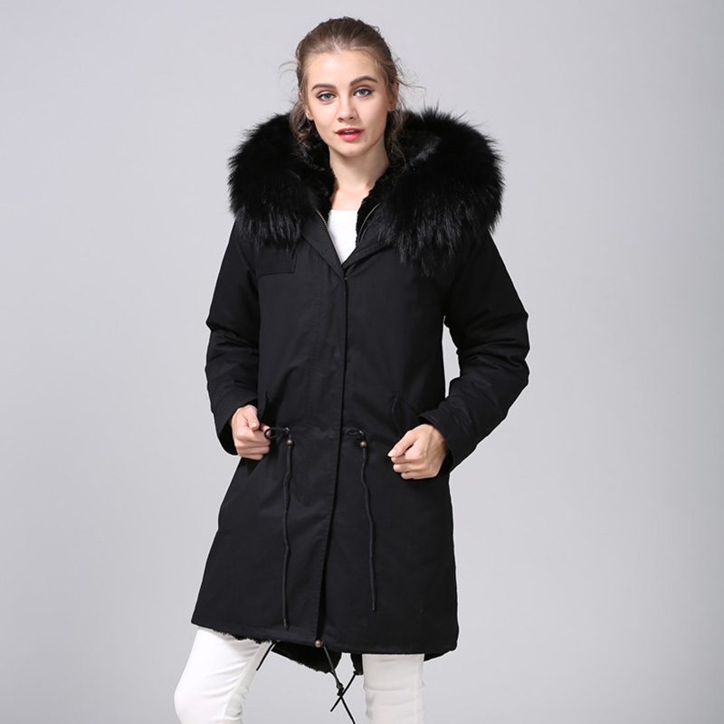 MAOMAOKONG 2018 lange jas jas Parka Mujer Jas plus size winter natuurlijke wasbeer parka zwart bontvoering jas