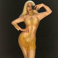 Festival Women Sexy Bodysuit Gold Tassel Sparkling Crystals Jumpsuit Nightclub Birthday Party Stage Wear Dancer Singer Leotard