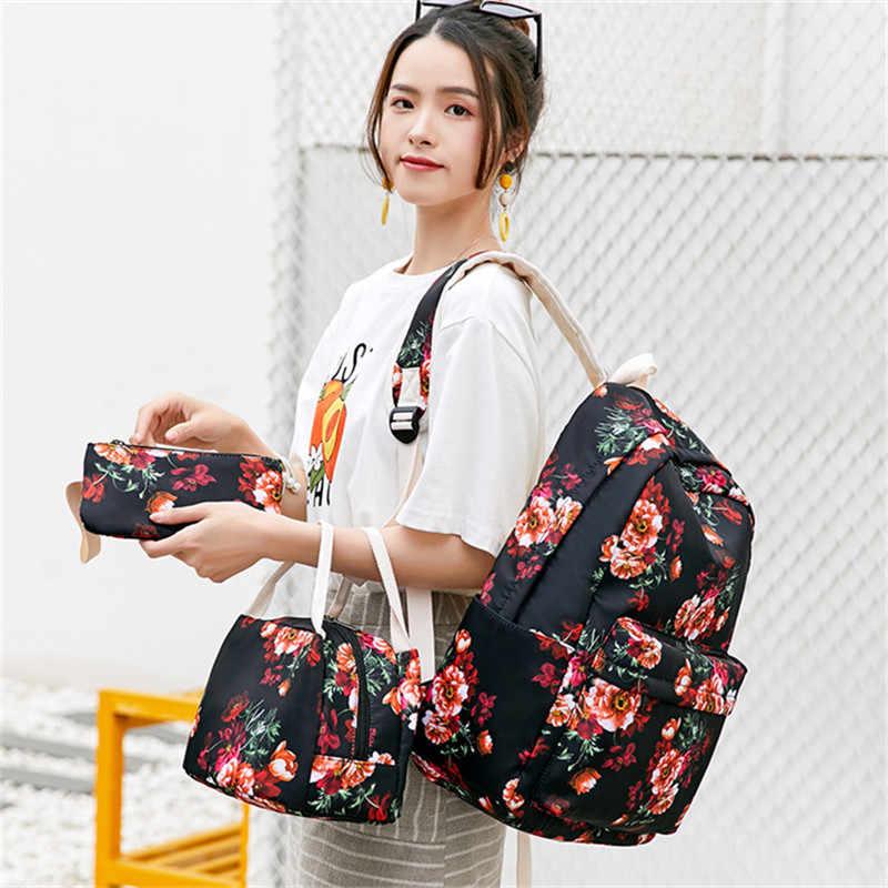 Fengdong meninas flor escola mochila crianças conjunto saco de escola estilo chinês caneta lápis saco floral mochilas para crianças bookbag