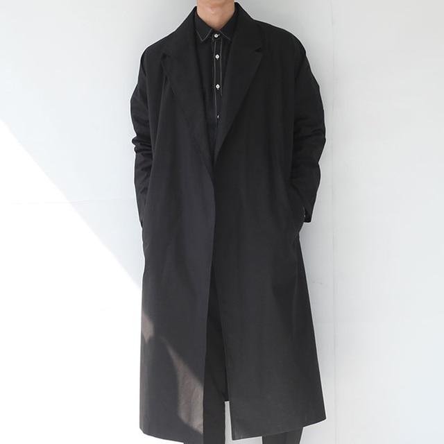 Мужчины долго пальто улица панк-рок новый осенний мужской плащ свободный весна моды случайные мыс плащ верхняя одежда ремень, Q124