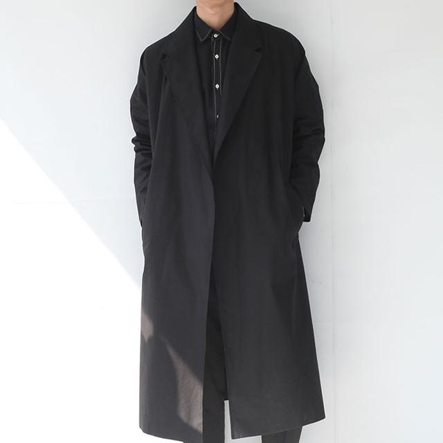 Hombres gabardina larga calle del punk rock de nueva otoño masculino gabardina floja primavera moda casual cinturón del cabo del capote prendas de vestir exteriores, Q124