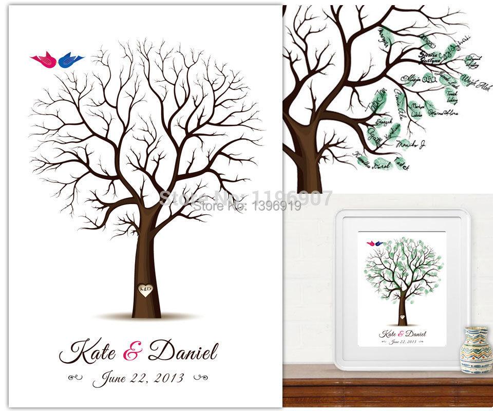 Wedding Guestbook Thumprint Tree Canvas A Great Wedding: 40x60CM Customize Wedding Fingerprint Tree Guest Book