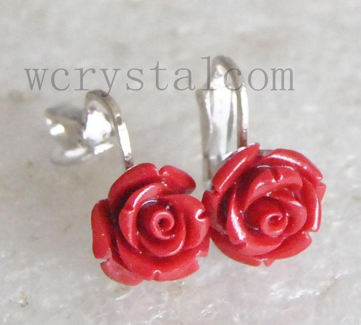 88456e7192aa Flor de Rose Red Coral de plata del oído pendientes de Clip en Pendientes  de la gota de Joyas y Accesorios