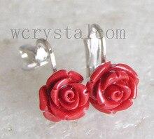 ดอกกุหลาบสีแดงปะการังเงินคลิปหูต่างหู